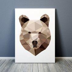 Geometric bear poster - by animalgeometry on etsy