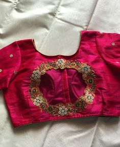 Embroidered rose Beading and EmbellishmentFor order and more info contact us on 6394837380 Kids Blouse Designs, Simple Blouse Designs, Stylish Blouse Design, Silk Saree Blouse Designs, Bridal Blouse Designs, Blouse Neck Designs, Designer Blouse Patterns, Sarees, Lehenga