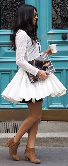 Street Style, March 2015: Kayla Seah is wearing a white lace Maje dress with suede ankle boots