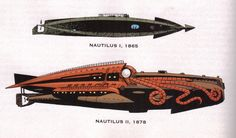 _Nautilus I_ & _Nautilus II_ by Kevin O'Neill, from _The League of Extraordinary Gentlemen: Black Dossier_ The Sword of the Ocean Steampunk Airship, Dieselpunk, Nautilus Submarine, League Of Extraordinary Gentlemen, Steampunk Festival, Dc Comics, Nemo, Leagues Under The Sea, Jules Verne