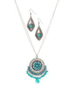 Look at this #zulilyfind! Turquoise Magnesite Dream Catcher Necklace & Earrings #zulilyfinds