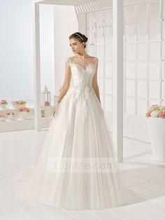 Ball gown off shoulder v-neck lace sweep train Designer Wedding Dresses SDPW0053