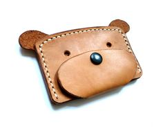 Hand Stitched Leather Card Case Dog by CaramelLeatherCrafts