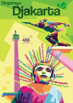 Jakarta City, Pop Art Artists, Pop Art Portraits, Infographic, Illustration, Bali, Poster, Painting, Inspiration