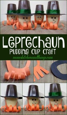Leprechaun Pudding Cup Craft for kids to make for St. Leprechaun Pudding Cup Craft for kids to make for St. St Patricks Day Crafts For Kids, St Patrick's Day Crafts, St Patricks Day Food, Cup Crafts, Spring Crafts For Kids, Crafts For Kids To Make, Kids Diy, Summer Crafts, Bottle Crafts