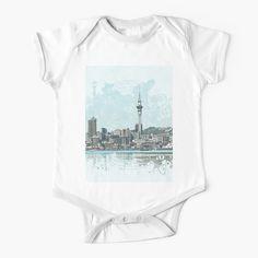 'Auckland Skyline' Kids Clothes by FantailDA Auckland, Swirls, Finding Yourself, Dots, Skyline, One Piece, Digital, Artwork, Baby