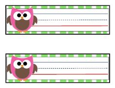 12 OWL DESK NAME TAGS - TeachersPayTeachers.com