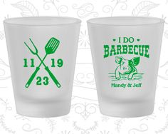 I Do BBQ, Printed Frosted Glass, I Do Barbecue Wedding, Wedding BBQ, BBQ Pig, Frosted Shot Glasses (46)