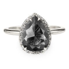 2.36 Carat Black Pear Rose Cut Diamond Engagement Ring, Halo Setting, Recycled 14k White Gold