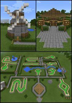 Minecraft Windmill Mini Golf Course Water Fountain Landscape - Minecraft World Minecraft Garden, Minecraft City, Cool Minecraft, Minecraft Buildings, Minecraft Construction, Minecraft Crafts, Minecraft Lantern, Minecraft Fountain, Minecraft Medieval