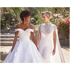 Orange is the New Black actress Samira Wiley and writer Lauren Morelli tie the knot in a gorgeous Christian Siriano's off the shoulder ball gown wedding dress and an elegant embroidered caped. Celebrity Wedding Photos, Celebrity Wedding Dresses, Celebrity Weddings, Celebrity Couples, Wedding Outfits, Wedding Attire, Orange Is The New Black, Samira Wiley Lauren Morelli, The Bride
