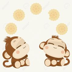 Cute lovely monkey couple. Happy New Year 2016. Vector Illustration