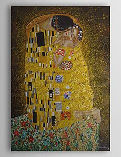Hand-painted Oil Painting - The Kiss by Gustav Klimt  with S... – USD $ 99.99