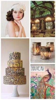 Art Nouveau Wedding INspiration & Ideas; wedding cake, decor, decorations, peacock, 1920's flapper