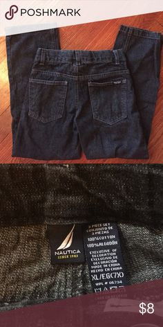 Boys size 7X Nautica Brand Dark denim jeans Worn once for Christmas photos. Boys size 7X Nautica Jeans dark denim. No defects and no signs of wear. Nautica Bottoms Jeans