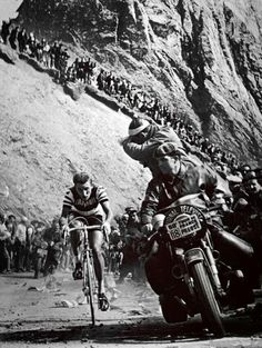 tourmalet:Jacques Anquetil on the Tourmalet during the 1963 Tour...