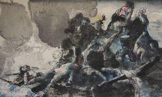 Mare Monstrum: Les peintures poignantes du périple des migrants par une artiste grecque|Georges Ranunkel Samos, Painting, Image, Painting Art, Paintings, Painted Canvas, Drawings