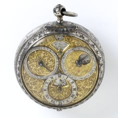 Geneva, Switzerland (made) Date: (made) Artist/Maker: Rousseau, Jean, born 1606 - died 1684 (movement) Materials and Techniques: Engraved silver with gilt brassWatch Z Old Clocks, Antique Clocks, Antique Watches, Vintage Watches, Pocket Watch Antique, Luxury Watches, Rolex, Watches For Men, Geneva Switzerland