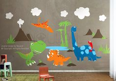 Dinosaurs Wall Decalpterodactyl triceratops Trex Wall by NouWall