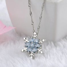 Charm Vintage Lady Necklace Women Snowflake Flower Shape Blue Zircon Silver-plated Pendants Necklaces Fashion Jewelry