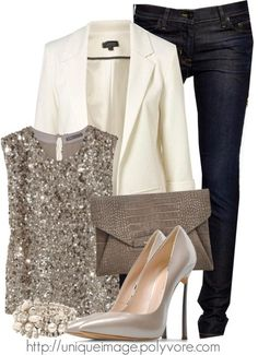 White blazer and silver sequin tank top