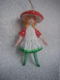 """Купить Ёлочная игрушка из ваты """"Девочка в костюме гриба"""" - комбинированный, Новый Год, новогодний подарок"""