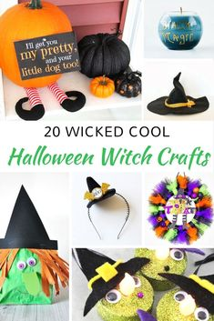 Awesome list of witch crafts for Halloween! Do you prefer cute and fun or spooky Halloween decor? Witches can be either one! This list has lots of fun DIY Halloween decoration ideas for adults to make as well as crafts for kids.