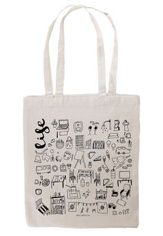 Life Tote Bag, 100% Cotton, Black and White <--  Life tote bag has a handpainted illustration with a lot of different draws that represent moments