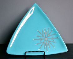Icy Snowflakes Fused Glass Large Plate by dortdesigns on Etsy, $28.00