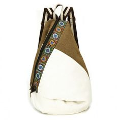 Vintage Tribe Pattern Embroidery Flower Canvas Backpack