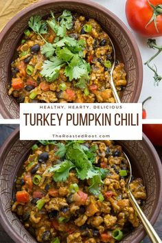 Turkey Pumpkin Chili with Black Beans - a thick, nourishing chili recipe that is quick and easy to prepare. Recipe post includes instructions for Instant Pot and Crock Pot #healthy #dinner #recipe #glutenfree #turkeychili #pumpkin #pumpkinspice #wholefood