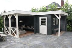 outdoor shed ideas Backyard Sheds, Outdoor Sheds, Outdoor Rooms, Outdoor Gardens, Outdoor Living, Garden Cabins, Building A Porch, Garden Buildings, Outside Living