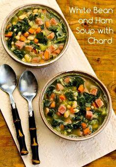 Soupe au jambon, haricots blancs, carottes et epinards