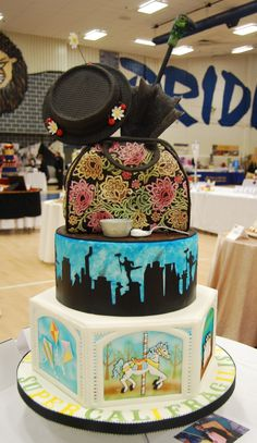 Mary Poppins cake by Barb Evans. Placed in the wedding cake division at NCACS