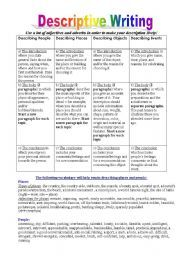 English worksheet: Descriptive Writing