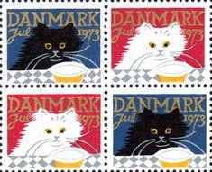 デンマーク・クリスマス・シール1973年 黄色いクリスマス用ディッシュと猫 Christmas Seal of Denmark