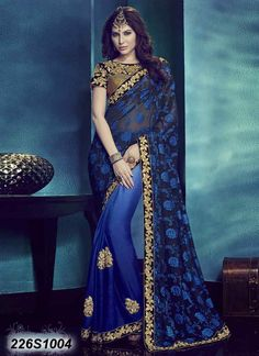 Adorning Blue Coloured Sparkle Georgette Embroidered Saree