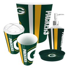 Show off your team spirit with our 5 Piece Bathroom Set. The ultimate bathroom collection for the true die hard fan. Each piece is made with high quality Polymer and has bright vibrant colors. The set