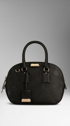 Burberry The Small Orchard in Checkembossed Leather in Black - Lyst