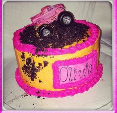 Pink girly monster truck cake
