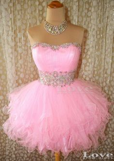 Cheap Ball Gown Pink Strapless Short Prom Dresses by LovePromDress, $138.99