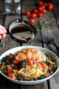 Brown butter lobster; bacon + crispy kale, with pasta