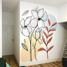 Creative Wall Painting, Wall Painting Decor, Mural Wall Art, Creative Walls, Wall Decor, Deco Zen, Bedroom Murals, Wall Drawing, Home Room Design