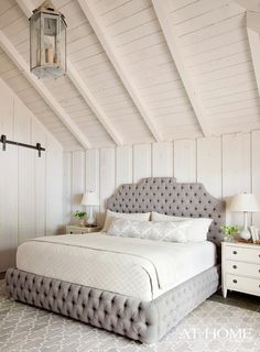 Beautiful bedroom.. Love the tufted bed frame