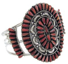Red Oyster Shell And Silver Jewelry Cuff Bracelet  BW70145 http://www.silvertribe.com