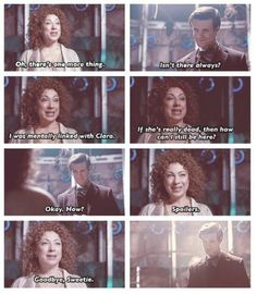 """Goodbye sweetie. SHE CAN'T BE GONE. Seriously though, the last thing she tells him before """"Goodbye Sweetie"""" is that she was mentally linked with Clara. And how is that possible... Spoilers! I think we'll be seeing River in season 8.."""
