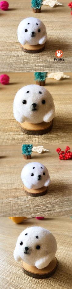 Handmade Needle felted felting kit project Woodland Animals seal cute for beginners starters
