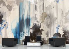 """The """"Siberian Sea"""" Wall Mural is composed using a blend of vibrant blues, navy, cream, silver, Black, and white an ethereal blue accent wall. This is an original Blueberry Glitter that has been converted into a large scale wall mural. The """"Siberian Sea"""" mural comes with a Silver leaf kit to add real metallic leaf in areas that you really want to see shine!! Each mural comes in multiple sections that are approximately 24"""" wide each. Sea Murals, Large Wall Murals, Removable Wall Murals, Blue Accent Walls, Blue Accents, Silver Wallpaper, Wall Wallpaper, Blue Abstract, Abstract Wall Art"""