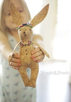 Woodland Bunny Softie Free Pattern made with sewible cork material Happy Signs, Sewing Blogs, Sewing Projects, Sewing Stitches, Dmc Floss, Softies, Plushies, Sewing For Kids, Pattern Making