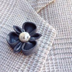 103 best lapel flower pins images on pinterest in 2018 custom a gray silk lapel flower pin made in the japanese tsumami kanzashi style i used mightylinksfo